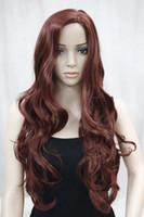 новые парики для кожи оптовых-Новая мода не челка сторона кожи часть Топ женщин Бурганды Красный длинные вьющиеся волнистые парик бесплатная доставка