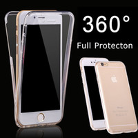 Wholesale iphone 5s front skin online - 2in1 Degree Full Body Coverage Transparent Soft TPU Case For iphone SE S Front and Back Dual Skin Cover