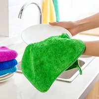 Wholesale Home Kitchen Supplies - Creative Home Can Be Hanging Coral Cashmere Non-stick Oil Thickened Wash Cloth Kitchen Supplies Can Not Fall Hair Absorbent Towel