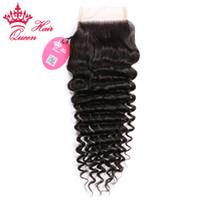 "Wholesale Queen Hair Curly Closure - Queen Hair 100% Brazilian Virgin Human Hair 3.5""x4"" Free part Lace Closure 8""-20"" Deep curly weave DHL Free Shipping"