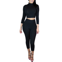 Wholesale Jumpsuits Womens Size - Plus Size 2017 Long Sleeve High Neck Two Piece outfits Rompers Womens Jumpsuit Sexy Bodycon Jumpsuits Plus size