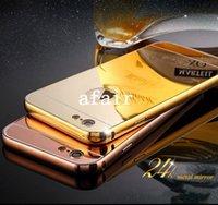 iphone 5s tampon kasası açık toptan satış-Lüks Alüminyum Ultra-ince Ayna Metal Tampon tomkas Durumda Temizle PC arka Kapak çerçeve iPhone 7 6 6 S Artı 5 S SE Samsung S7 S6 kenar