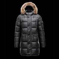Wholesale Black Velvet Long Coat - Winter men jacket Plus size men long downs jacket Open the pocket Real fur Hat brim buttons Black Male long coat