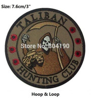 "Wholesale Hunting Clothes Wholesale - 3"" TALIBAN HUNTING CLUB DEATH REAPER HEAD HUNTER Hoop & Loop PATCHES MORALE MILSPEC badge for clothing cap bags hat"