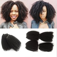 Barato Pedaço De Cabelo Afro Polegadas-Virgin Hair Weaving 4 Pieces Indian Afro Kinky Curly 100% Unprocessed Cabelo humano Trama Natural Color Thick Bundles 8-30 inch FDSHINE