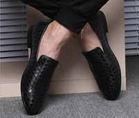 Wholesale Creeper Shoes Printed - Fashion Crocodile Leather Men Wedding Weaving Dress Shoes Red Black Formal Oxford Shoes Bottom Elevator Shoes Mens Creepers Chaussure Homme