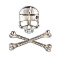 ingrosso osso auto-3D Personalized Car Sticker Skull Badge Auto Metal Skull Bone Logo parte decorativa