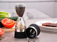 Wholesale Pepper Core - Stainless Steel Manual Salt Pepper Mill Grinder Grind 2 In 1 Ceramic Core Portable Stocked Kitchen Mill Muller Tool Black  Red 20PCS YYA842