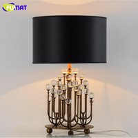 Wholesale Crystal K9 Table Lamp - FUMAT Table Lamps Modern Bedroom Bedside Lamp Luxury Crystal Abajur Luminaria with Fabric Lampshade Coral K9 Crystal Table Lamp
