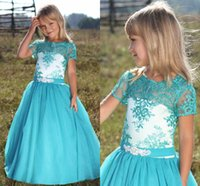 Wholesale Turquoise Children Dresses - Turquoise Blue Flower Girls Dresses Lace Tulle Floor Length Short Sleeves Children Wedding Party Dresses Chocolate Girls Pageant Dress