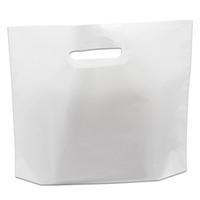 ingrosso borse di plastica artigianali-Borsa da shopping in plastica bianca 50Pcs / Lot con manici e accessori per abbigliamento in plastica