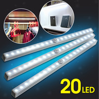 Wholesale Drawers Lights - Sensor Night Light 20 LED Wireless PIR Motion Sensor Battery Power Cabinet Drawer Light Closet Cabinet Lamp LEG_73Q