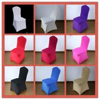 Wholesale Chair Covers Lycra Fabric - 100 PCS Stretch Elastic Universal Spandex Wedding Chair Covers for Weddings Party Banquet Hotel Lycra Polyester Fabric