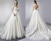 Wholesale Enzoani Sexy Wedding Dress - Detachable Train Long Sleeves Lace Wedding Dresses 2018 Enzoani Bridal Hollow Back Bohemian Wedding Dress Sheer Jewel Neck Bridal Gowns