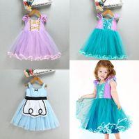 Wholesale Mermaid Suspenders - Baby girls Mermaid Rapunzel princess dress summer cotton TuTu lace Children Alice Dresses Kids Halloween costume DHL C2472