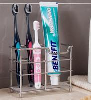 suportes de escova de dentes aço inoxidável venda por atacado-Escova De Dentes De Aço Inoxidável Popular e Suporte Toothpaster Toothbrush Organizer caixa de acessórios de banheiro Titular do Pente