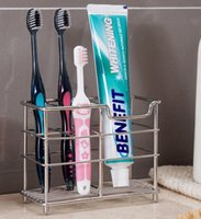 Wholesale Comb Holder - Stainless Steel Toothbrush and Toothpaster Holder Toothbrush Organizer box bathroom Accessories Comb Holder