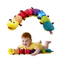 Jouets pour bébés Objets musicaux Caterpillar avec anneau Bell Cute Cartoon Animal Plush Doll Early Learning Educational Kids Toys