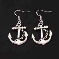 silber 925 anker großhandel-Anker-Ohrringe 925 silberne Fisch-Haken 30Pairs / lot antikes Silber baumelt Leuchter-Modeschmuck 24X44mm E003
