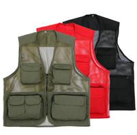 Wholesale Cotton Waistcoat For Men - Wholesale- Mesh Vest For Mens Pocket Sleeveless Vest Large Size 3XL Man Mesh Quick-dry Fly and Photographer Vest Waistcoat