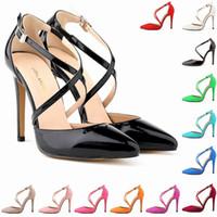 Wholesale Orange Dress Sandals - Sapato Feminino Fashion Womens Stilettos High Heels Ankle Strap Sexy Sandals Summer Party Shoes US SIZE 4 5 6 7 8 9 10 11 D0089