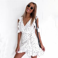 Wholesale flow dresses - 2017 Ruffle Polka Dot Flowing Sexy Mini Summer Dresses Vintage Irregular Bow Wrap Short Summer Party Dress Women Chiffon White Dresses