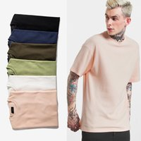 Wholesale Basic Fabric - Men'sHigh Quality 6 Colour HipHop Solid-colored Casual T Shirts Waffle Fabric Streetwear Fashion Crew Neck Cotton Basic Essential T-Shirts