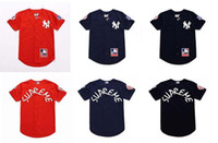 Wholesale Baseball Standards - 2017sup American baseball uniform short sleeved T-shirt embroidery cardigan loose hip hop hiphop T-shirt shirt cardigan Harajuku style and s