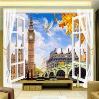 Wholesale Backdrop Fantasy - Free Shipping 3D Stereo Custom Fantasy Window European Style London Tower TV Backdrop Wallpaper High Quality Mural