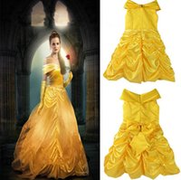 Wholesale Beaded Silk Skirt - Girls Princess Belle Dress Gorgeous Party Dress Kids Girls Tulle Tutu Lovely Skirts Costume Baby Girls Formal Dress