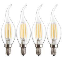 Wholesale Candle Shape Chandelier - Jiawen 4pcs lot Base E14 Candle Shape Chandelier LED Filament Edison Light Bulb 4 W