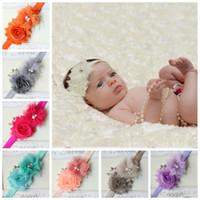 bebek kafa bantları kristalleri toptan satış-Bebek inci streç bantlar kız çiçek elmas kafa şapkalar çocuklar bebek kristal saç bantları 15 renkler