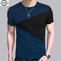 Wholesale Lost Shirt - Wholesale- ZSIIBO TX116 factory very lost cost promotion Neck T-shirt Men Short Sleeve Shirt Casual tshirt Tee Tops Mens Short Shirt