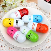 Wholesale Cute 13 Boys - Cute Pill Shape Retractable Ballpoint Pen Kawaii pill shape novelty ballpen Lovely learning stationery Kids toy gifts