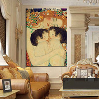 Wholesale Mother Child Oil Painting - Framed Gustav Klimt - Mother And Child twins portraits,Hand Painted Abstract Art oil painting High Quality Canvas Wall Decor Multi Sizes