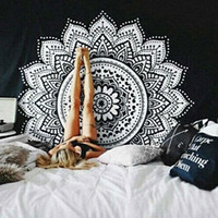 Wholesale White Knitted Throw - Classical black and white Mandala cloth tapestry,multi-function tapestry 146X146cm, table cloth, wall cloth, wearable beach blanket