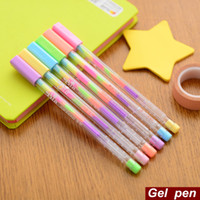 Wholesale Color Office Paper - 6 Pcs Lot Rainbow Gel Pen Multi Color 0.8mm Roller Pens Fluorescence Highlighter for Black Paper Stationery School Supplies
