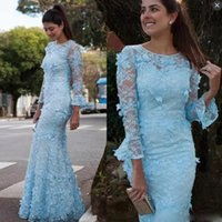 Devant De Dentelle Artisanale Pas Cher-Sky Blue Lace Long Sleeves Robes de bal Long Jewel Sheer Neckline Mermaid Robes de soirée Retour Zipper Handmade Appliques Robe de soirée