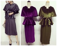 Wholesale Autumn winter new women s retro velvet poncho top cloak slim waist sashes top and pleated midi long skirt suit dress set