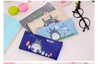 Wholesale Leather Pen Boxes - totoro pencil case panda school boys kawaii pen box bag pouch canvas cartoon cute cases bags leather or pens stationery kawaii