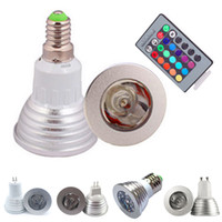 Wholesale mr16 rgb bulb online - 3W RGB LED Bulbs Light Color Changing AC85 V E27 GU10 E14 GU5 DC AC12V MR16 with Key IR Remote Control