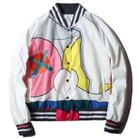 Wholesale Men S Short Jacket Style - 2017 brand autumn Mira Mikati x Kaws women men unisex baseball jacket designer colourful print short style bomber jacket coat