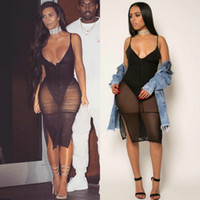 Wholesale Jumpsuits Deep V - Black Mesh Bandage Jumpsuit Womens Bodycon Bodysuit Sheer Patchwork Perspective Femme Night Club Wear Deep V neck Vest short Romper Bodysuit