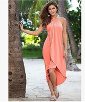Wholesale Halter Bohemia Dress - Summer irregular Dresses For Women Multi-colored bohemia Ruffle Beach Casual Dress Ladies backless Halter Prom Party Evening Dresses