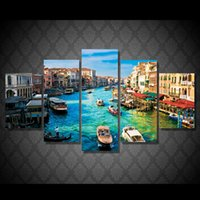city picture frame 2018 - 5 Pcs Set Framed HD Printed Water City Boat Landscape Wall Art Canvas Print Poster Canvas Pictures Home Decoration Oil Painting