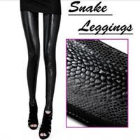 Wholesale Wholesale Faux Rock - Wholesale- Hot Vogue Women's Leggings Snake Print Sexy Rock Skinny Slim Stretch Pants Trousers