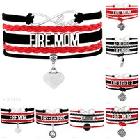 Wholesale Thin Bracelets For Women Wholesale - Infinity Love Fire Mom Aerobic Training Firefighters Love Thin Red Line Charm Wrap Bracelets For Women Men Jewelry Red Black Leather