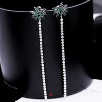 Wholesale Earring Coconut - Earring fashion jewellery brass material with silver pin coconut tree USA style AAA cubic zirconia green stones tassel earring free shipping