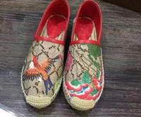 loafers flor venda por atacado-Mulheres lona preguiçosos Flats de Alta qualidade Marca de Moda Senhoras famosa Flor de Couro Genuíno Flores de Lona Mocassins Alpercatas com caixas