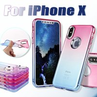 Electroplate Gradient Cell Phone Case Étuis Soft TPU pour iPhone X 8 7 6 6s Plus Coloré Clear Cover